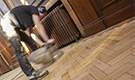 Sanding and staining a hardwood block floor